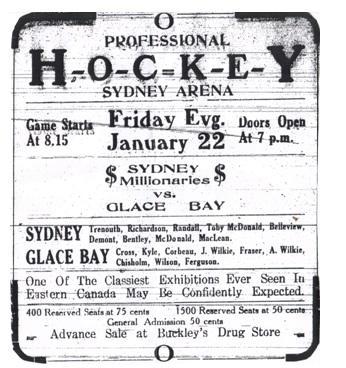 Sydney Millionaires vs Glace Bay Miners